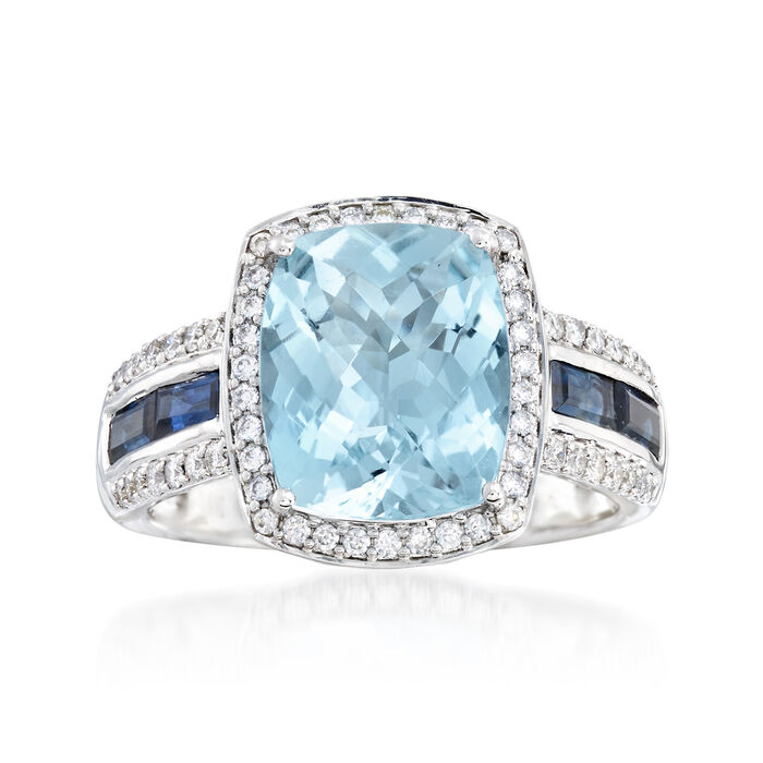 3.50 ct. t.w. Aquamarine and .80 ct. t.w. Sapphire Ring with Diamonds in 14kt White Gold