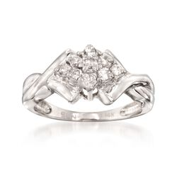 C. 1980 Vintage .25 ct. t.w. Diamond Cluster Ring in 14kt White Gold. Size 5, , default