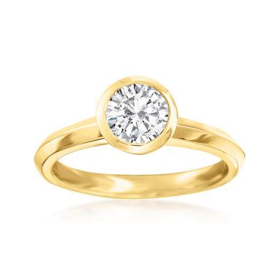 1.00 Carat Bezel-Set Diamond Solitaire Ring in 14kt Yellow Gold