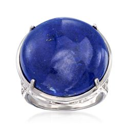 Cabochon Lapis Ring With .30 ct. t.w. White Topaz in Sterling Silver, , default