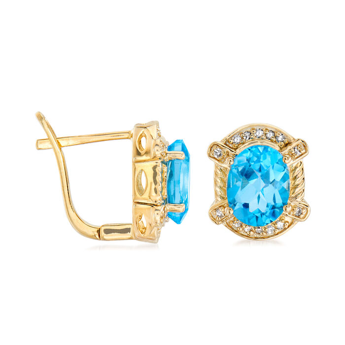 4.40 ct. t.w. Swiss Blue Topaz and .14 ct. t.w. Diamond Earrings in 18kt Gold Over Sterling