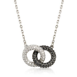 Swarovski Crystal Interlocking Rings Necklace in Silvertone, , default