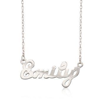 "Child's Sterling Silver Script Name Necklace. 15"", , default"