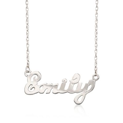 Child's Sterling Silver Script Name Necklace, , default