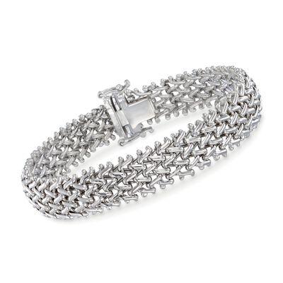 Sterling Silver Riso Link Bracelet, , default