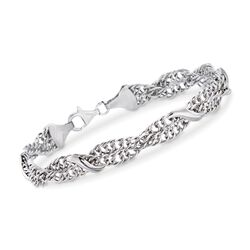 Italian Sterling Silver Braided Curb-Link and San Marco Station Bracelet, , default