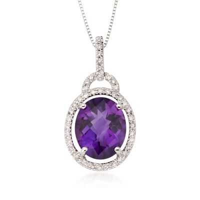 4.10 Carat Amethyst and .20 ct. t.w. Diamond Pendant Necklace in 14kt White Gold, , default