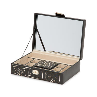 "Wolf ""Marrakesh"" Black Leather Flat Jewelry Box"