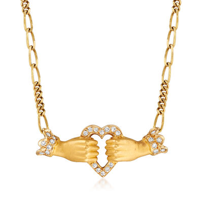 C. 1980 Vintage Carrera Y Carrera .13 ct. t.w. Diamond Hands Holding Heart Necklace in 18kt Yellow Gold, , default