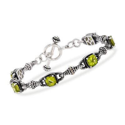 6.65 ct. t.w. Peridot Bracelet in Sterling Silver and 14kt Yellow Gold, , default