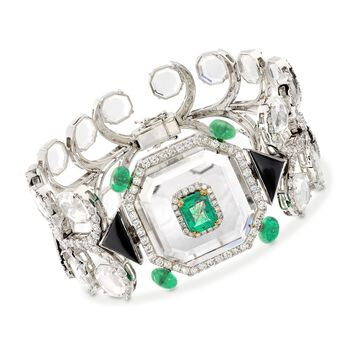 "6.25 ct. t.w. Emerald and 5.85 ct. t.w. Diamond Geometric Bracelet With Crystals and Black Onyx in 18kt White Gold. 7"", , default"