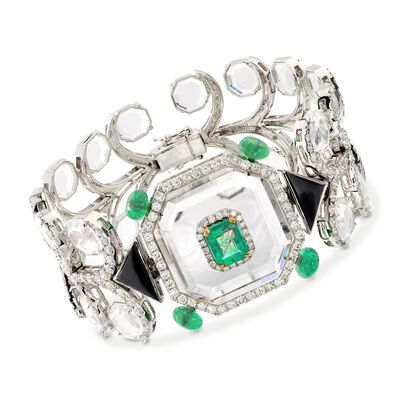 6.25 ct. t.w. Emerald and 5.85 ct. t.w. Diamond Geometric Bracelet with Crystals and Black Onyx in 18kt White Gold, , default