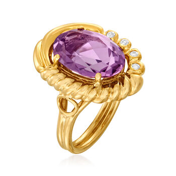 C. 1990 Vintage 5.00 Carat Amethyst Ring in 14kt Yellow Gold. Size 6.75, , default