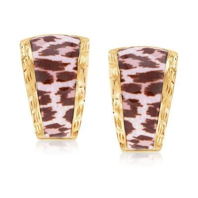 Italian Leopard-Print Enamel Earrings in 14kt Yellow Gold, , default