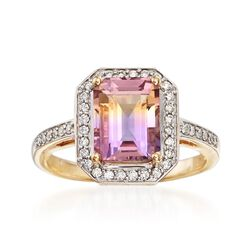 2.00 Carat Ametrine and .23 ct. t.w. Diamond Halo Ring in 14kt Yellow Gold, , default