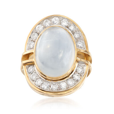 C. 1990 Vintage Moonstone Cabochon and 1.25 ct. t.w. Diamond Ring in 18kt Yellow Gold, , default