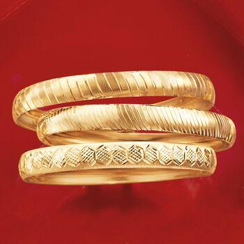 "Set of Three 14kt Gold Over Sterling Silver Diamond-Cut Bangle Bracelets. 7.5"", , default"
