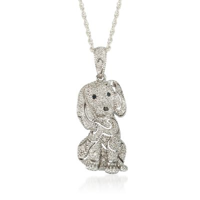 .15 ct. t.w. Diamond Dog Pendant Necklace in Sterling Silver , , default