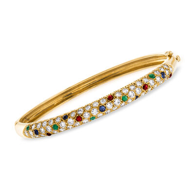 C. 1980 Vintage 2.25 ct. t.w. Diamond and 1.25 ct. t.w. Multi-Gem Bangle Bracelet in 18kt Yellow Gold, , default