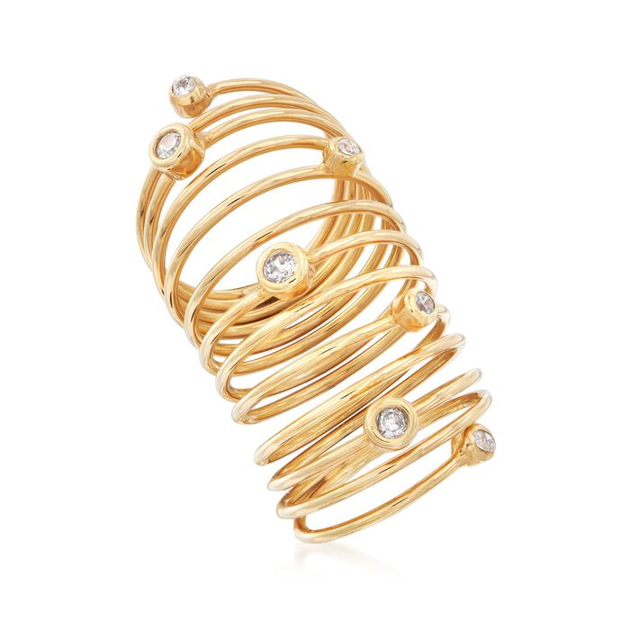 Italian .43 ct. t.w. Bezel-Set CZ Coil Ring in 18kt Gold Over Sterling