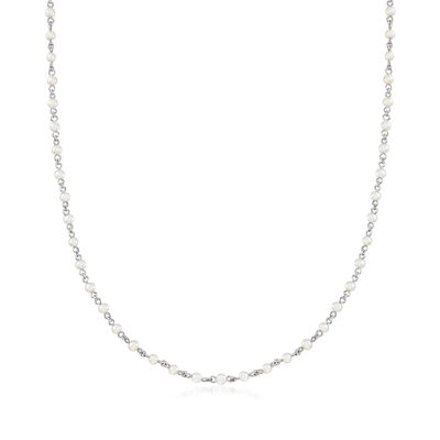 C. 1990 Vintage Mimi Milano 3x3.5mm Cultured Pearl Station Necklace in 18kt White Gold, , default