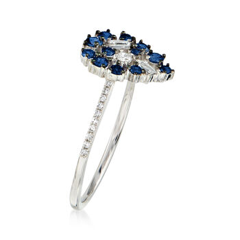 .20 ct. t.w. Sapphire and .15 ct. t.w. Diamond Pear-Shaped Ring in 18kt White Gold. Size 7
