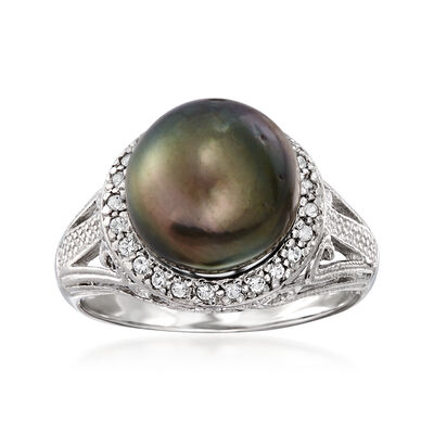 11-12mm Black Cultured Tahitian Pearl Ring with .20 ct. t.w. White Topaz in Sterling Silver, , default