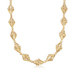 Italian 14kt Yellow Gold Geometric Filigree Cut-Out Station Necklace, , default