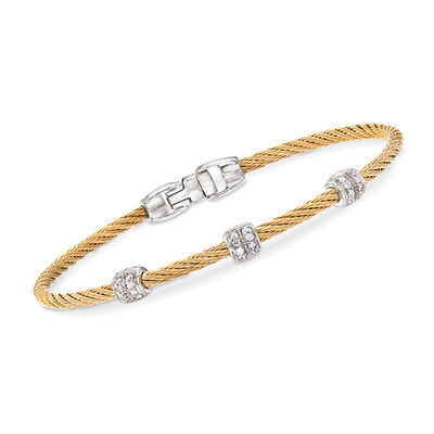 "ALOR ""Classique"" .21 ct. t.w. Diamond Yellow Stainless Steel Cable Bracelet with 18kt White Gold, , default"