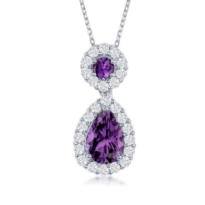 """1.90 ct. t.w. Amethyst and .70 ct. t.w. White Topaz Pendant Necklace in Sterling Silver. 18"""", , default"""