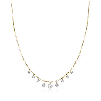 .16 ct. t.w. Pave Diamond Graduated Multi-Shape Station Necklace in 14kt Yellow Gold, , default