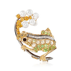 3-4mm Cultured Pearl and 1.20 ct. t.w. Multi-Stone Frog Pin Pendant in 18kt Gold Over Sterling, , default