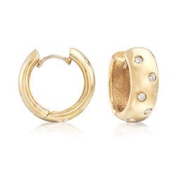 C. 1990 Vintage .40 ct. t.w. Diamond Huggie Hoop Earrings in 14kt Yellow Gold, , default