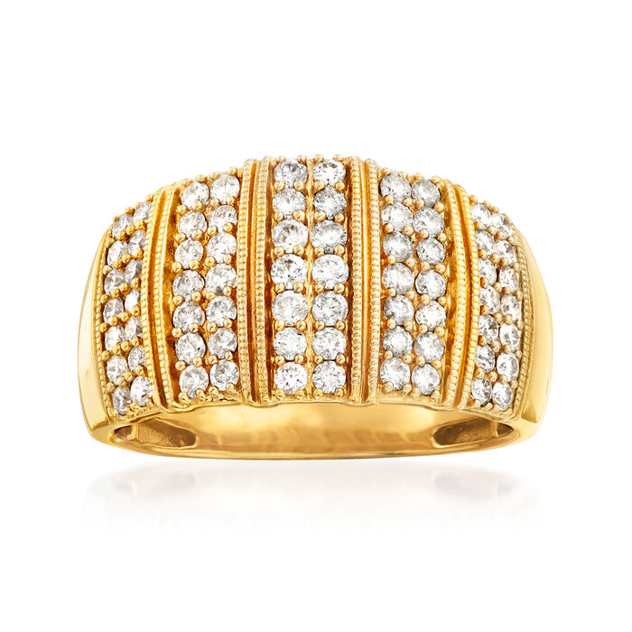 C. 1980 Vintage 1.30 ct. t.w. Diamond Ring in 14kt Yellow Gold
