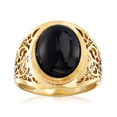 Italian Black Agate Ring in 14kt Yellow Gold, , default