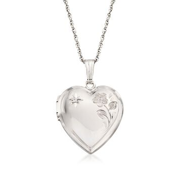 "Sterling Silver Floral Heart Locket Necklace With Diamond Accent. 18"", , default"