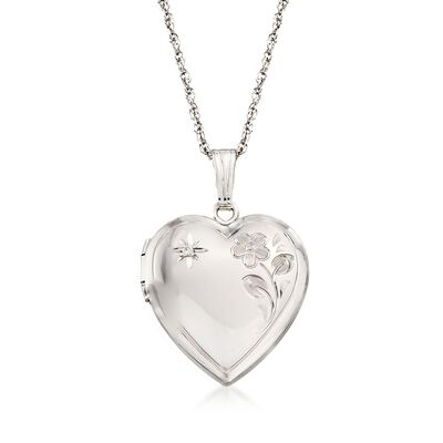 Sterling Silver Floral Heart Locket Necklace With Diamond Accent, , default