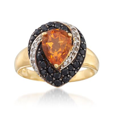 1.60 Carat Citrine and .70 ct. t.w. Black Spinel Ring With White Zircons in 18kt Gold Over Sterling, , default