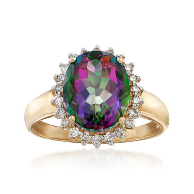 4.90 ct. Mystic Topaz and Diamond Ring in 14kt Yellow Gold, , default