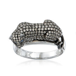 C. 2000 Vintage 1.50 ct. t.w. Champagne Diamond Panther Ring With Sapphire Accents in 14kt White Gold, , default