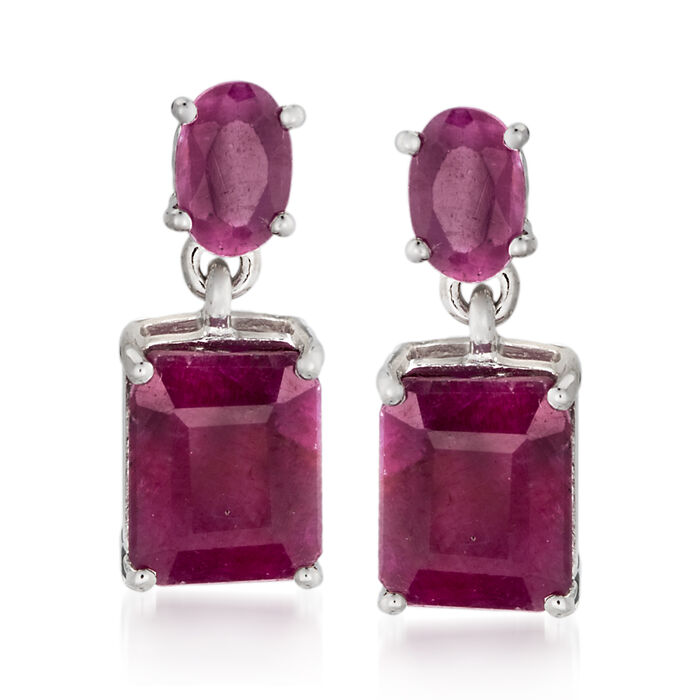 6.55 ct. t.w. Opaque Ruby Drop Earrings in Sterling Silver , , default