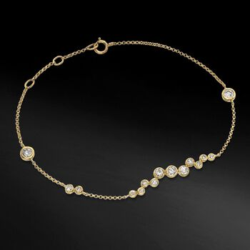 .61 ct. t.w. Bezel-Set Diamond Cluster Bracelet in 14kt Yellow Gold, , default