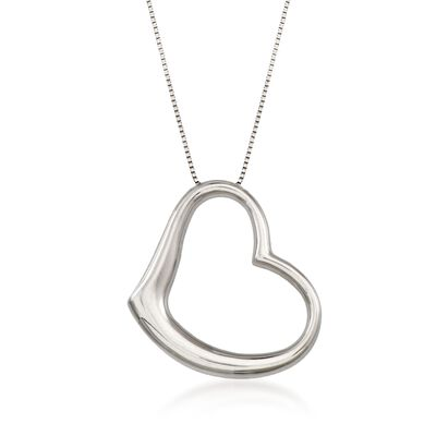Roberto Coin 18kt White Gold Large Heart Pendant Necklace, , default