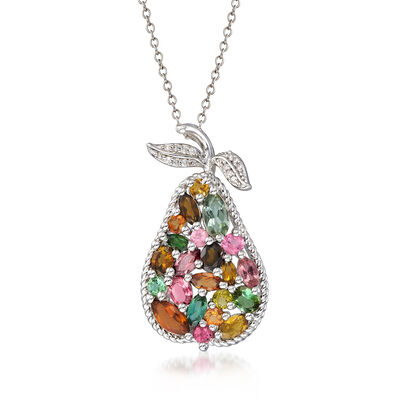 2.30 ct. t.w. Multicolored Tourmaline Pear Pendant Necklace with Diamond Accents in Sterling Silver, , default