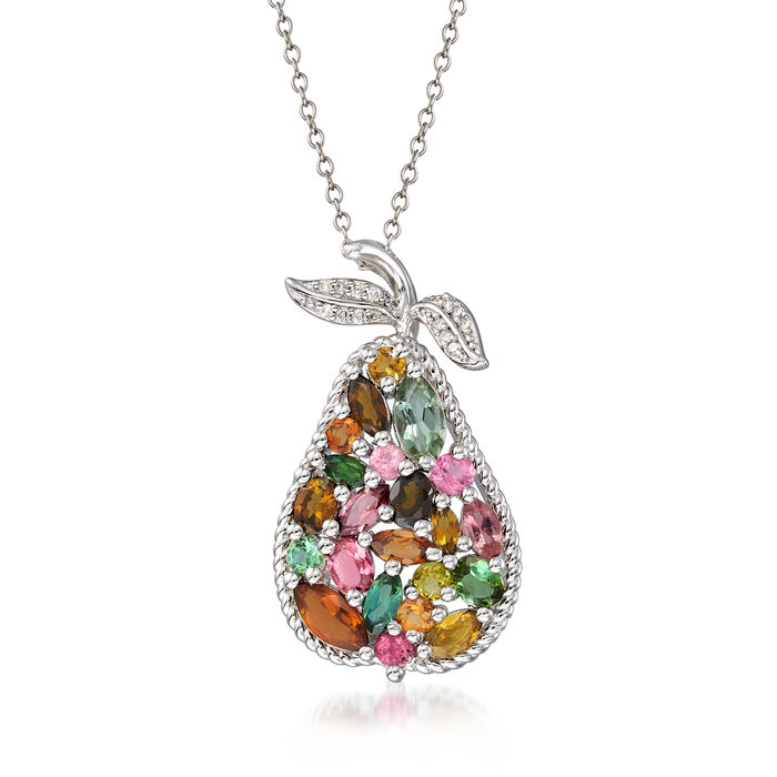 "2.30 ct. t.w. Multicolored Tourmaline Pear Pendant Necklace with Diamond Accents in Sterling Silver. 18"", , default"