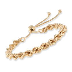 Italian 18kt Gold Over Sterling Rope-Style Bolo Bracelet, , default