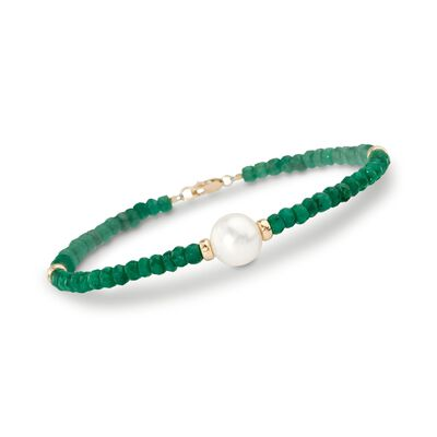 26.00 ct. t.w. Beaded Emerald Bracelet with 10mm Cultured Pearl in 14kt Yellow Gold, , default