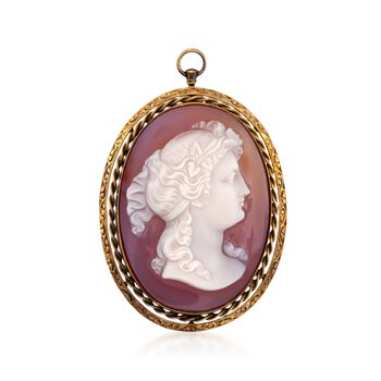 C. 1950 Vintage Carved White Agate Cameo Pin Pendant in 14kt Yellow Gold, , default