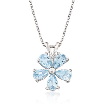 1.25 ct. t.w. Sky Blue Topaz Flower Pendant Necklace in Sterling Silver