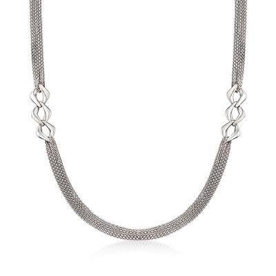 Italian Sterling Silver Multi-Strand Station Link Necklace, , default